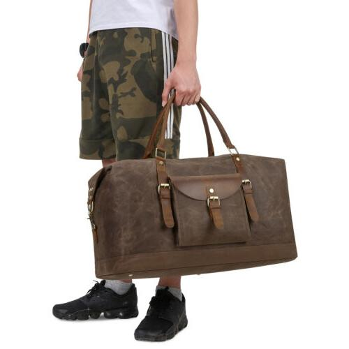 Oversize Canvas Duffel Weekend Bag Waterproof Leather Travel