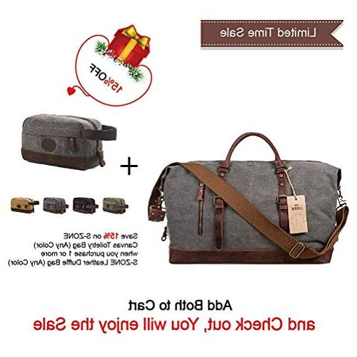 S-ZONE Oversized Leather Travel Duffel Shoulder Bag