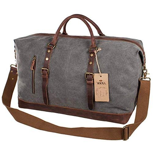 S-ZONE Oversized Canvas Leather Travel Duffel Shoulder Bag