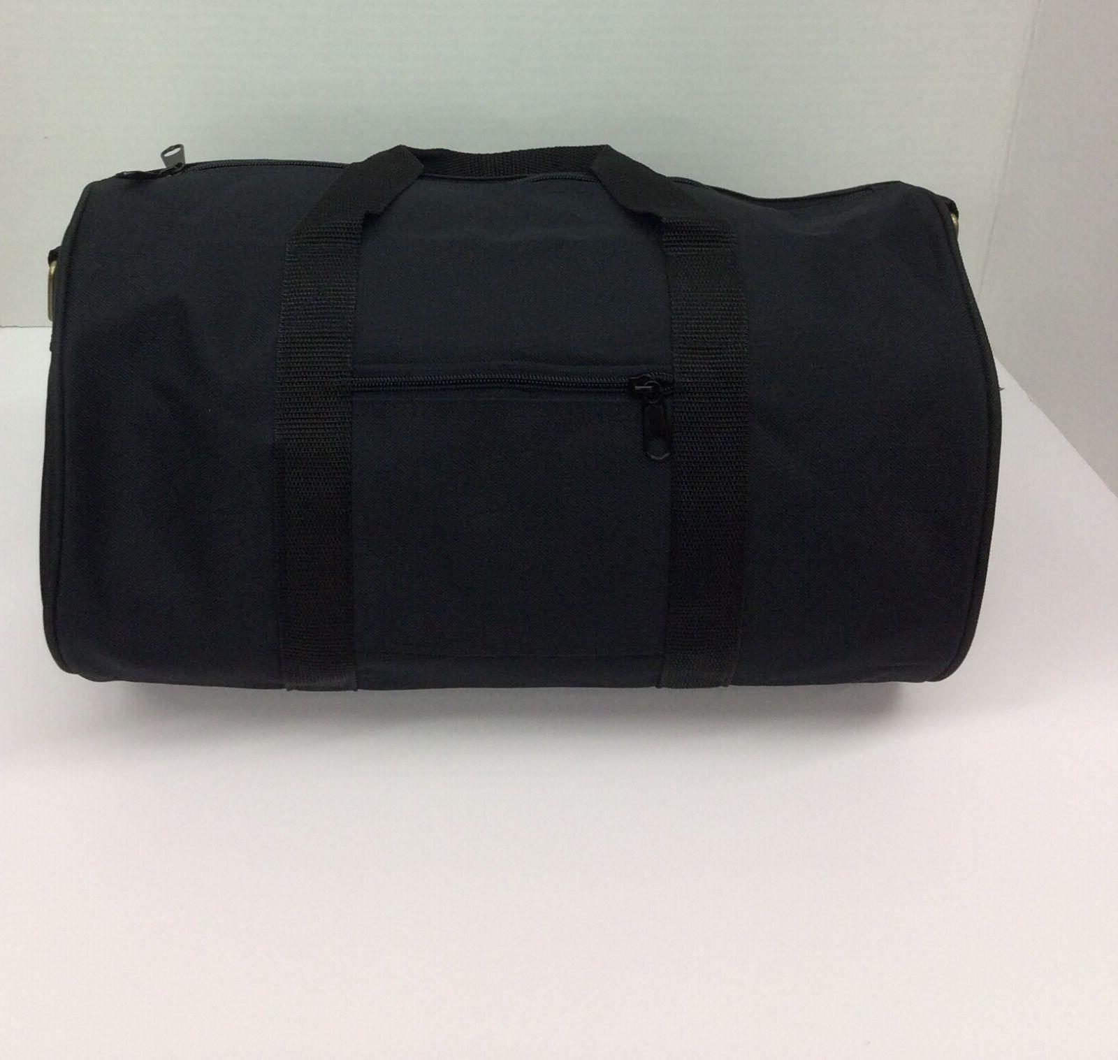 "Plain Canvas Round Duffle Bag BLACK Size: 12"" 14"" 16""18"" 20"""