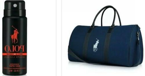 polo fragrance blue duffle bag and bonus