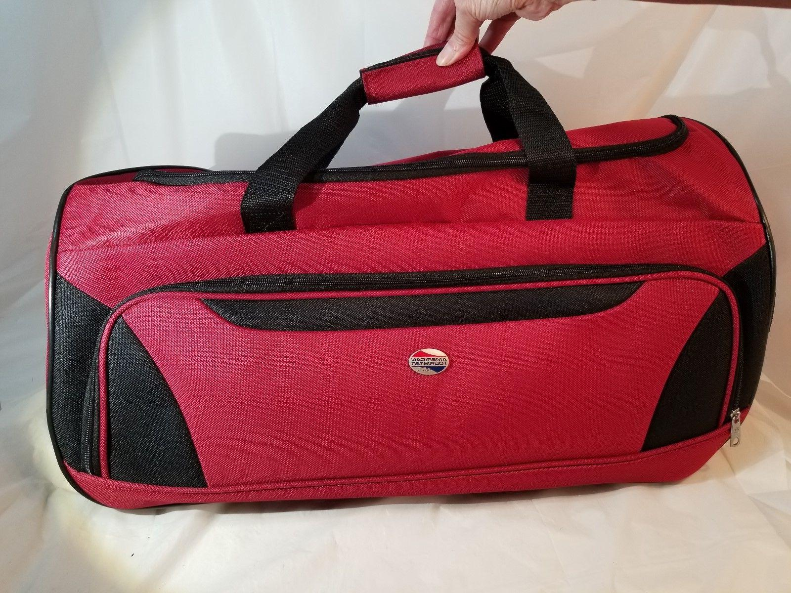AMERICAN TOURISTER RED DUFFEL TRAVEL BAG WHEELS NEW