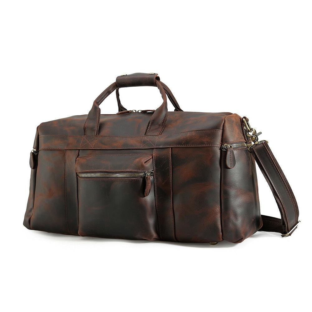 Retro Real Leather Travel Duffle Gym Overnight Tote Shoulder