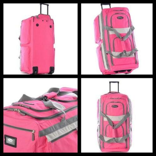 Rolling Duffel Bag Outdoor Travel Luggage Suitcase Hot Pink