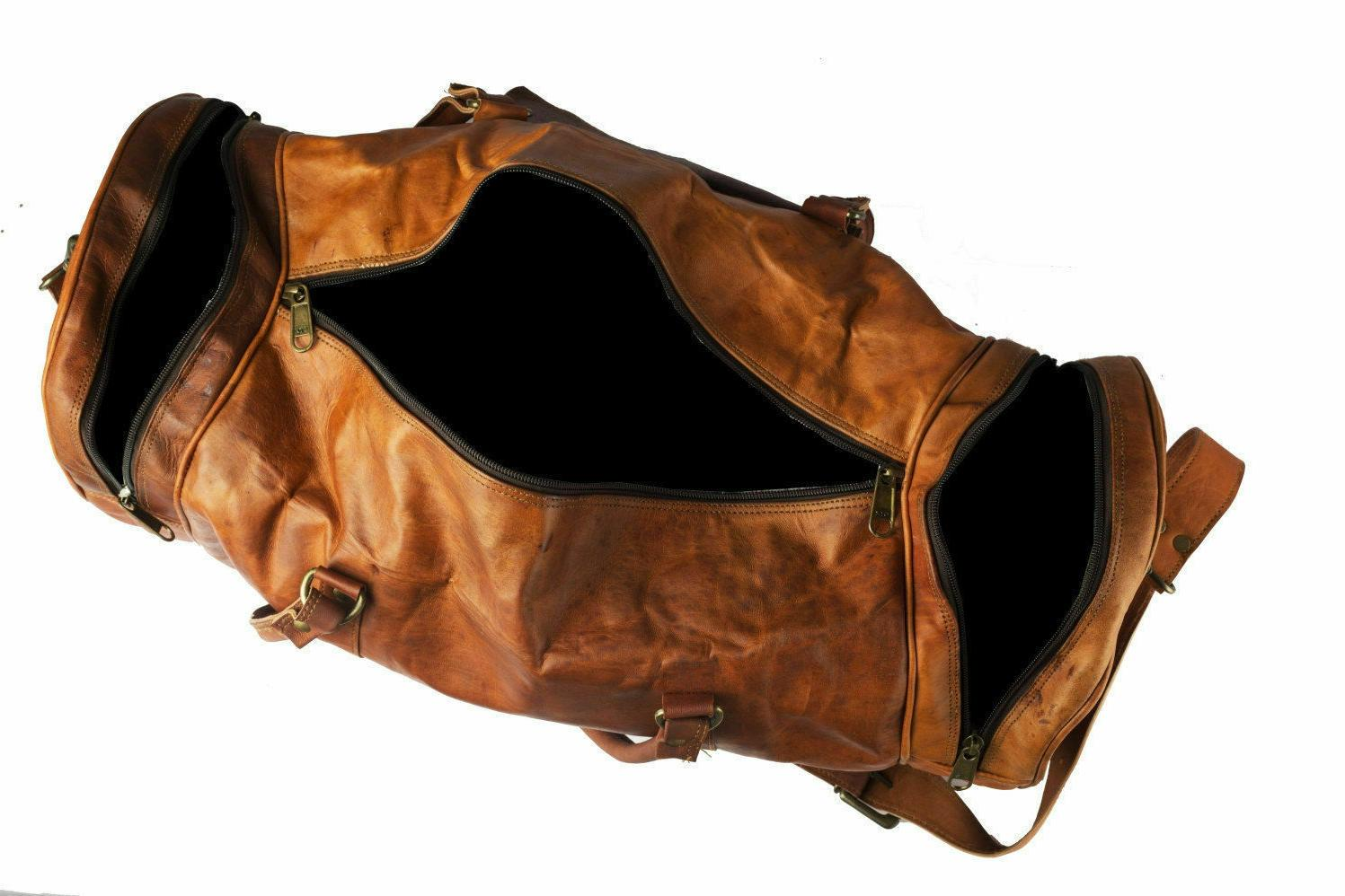 Round Leather vintage duffle travel weekend overnight