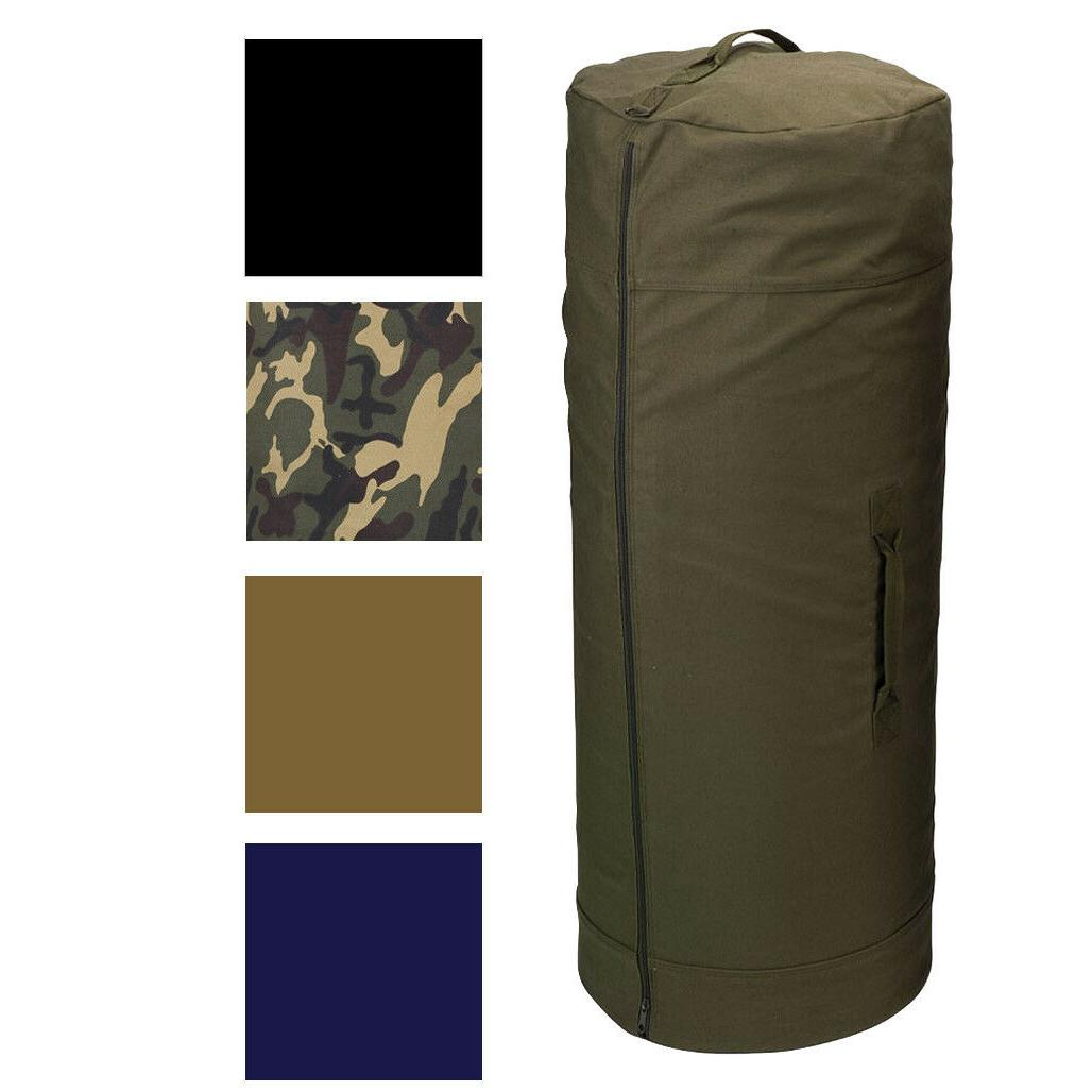 Side Zipper Canvas Duffle Bag, Military Duffel Heavy Duty Co