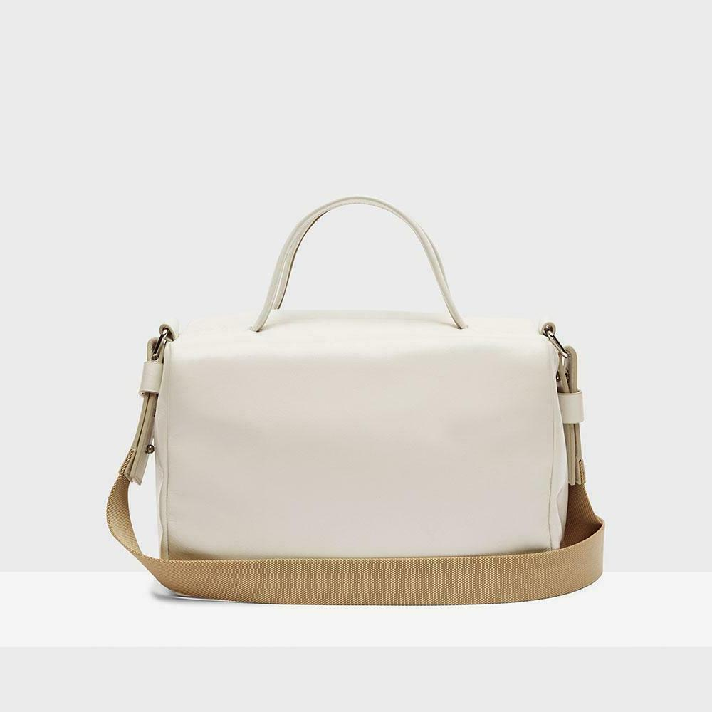 THEORY Small Duffle Cheler Leather Bag Shoulder Strap Pale S