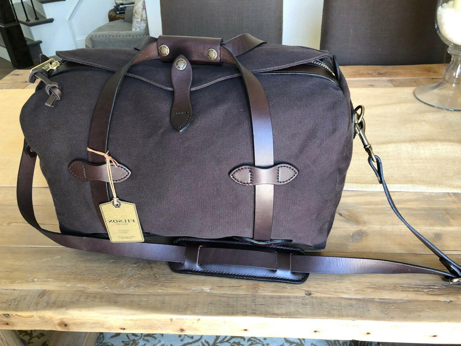 small twill and leather duffel bag brown