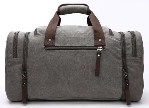 Travel Canvas Tote Carry Luggage Gray