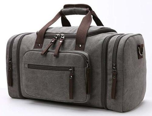 travel duffel bag leather canvas sports gym