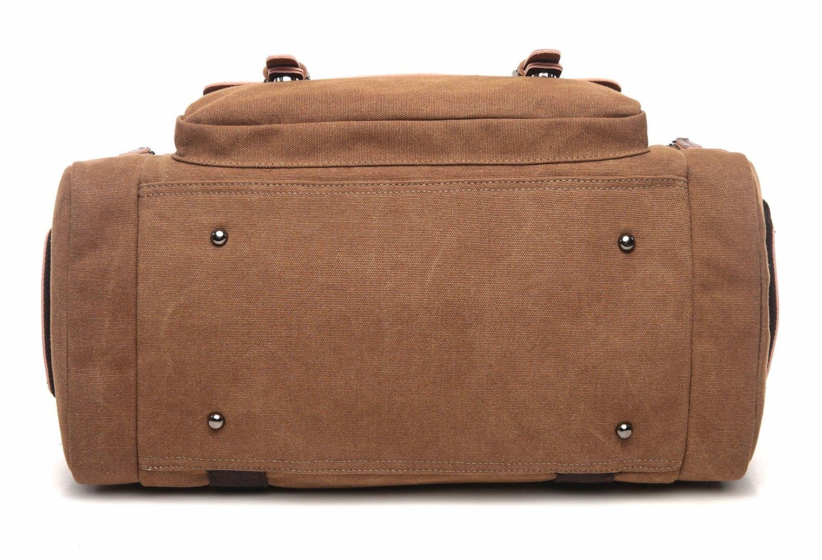 CrossLandy Bag Leather Canvas Bag Tote Luggage
