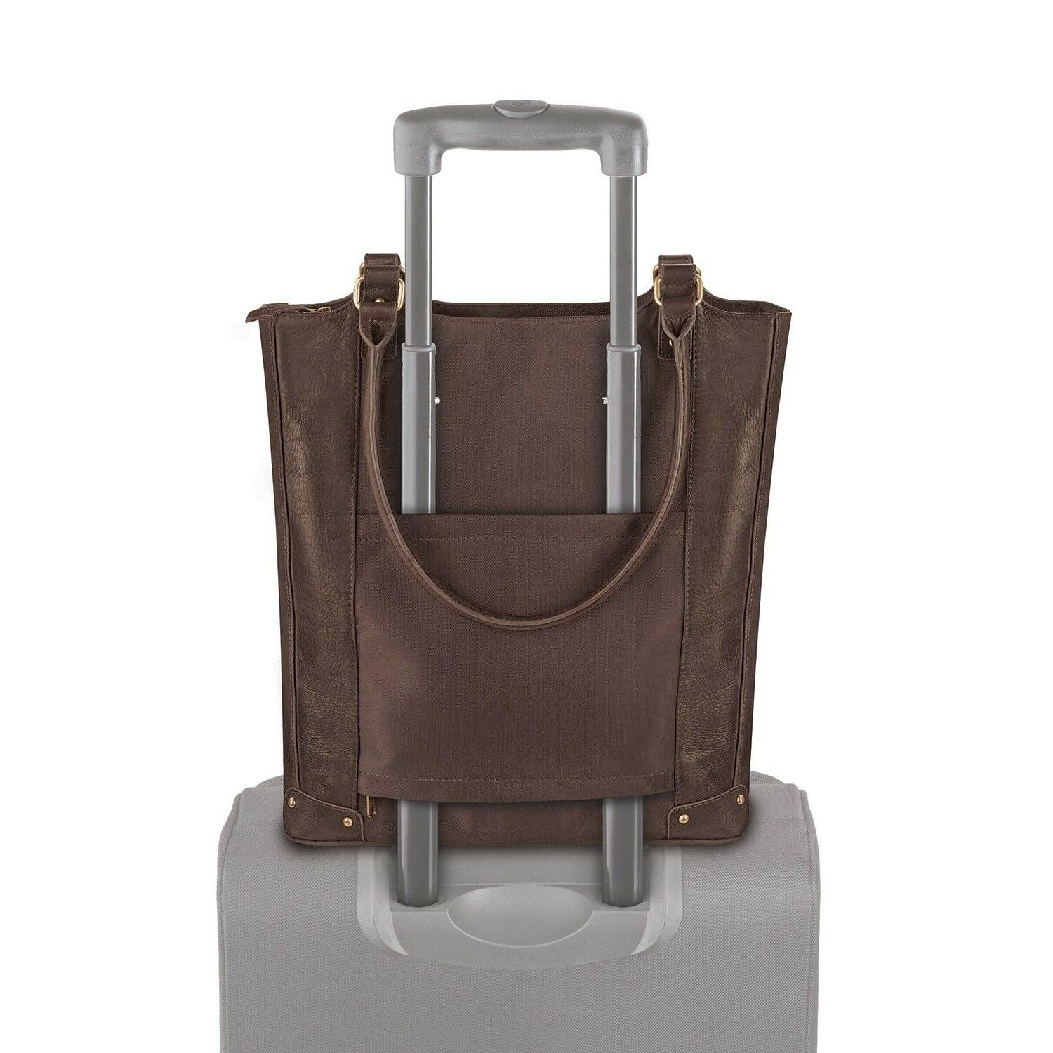 Womens 16 In Tote Solid Leather Compartment