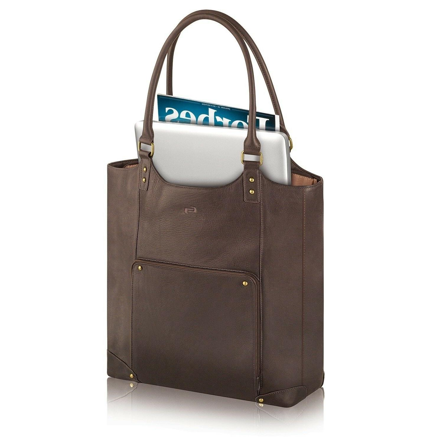 Womens Vintage Espresso 16 Laptop Tote Solid Leather Multi Compartment