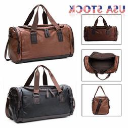 Large Leather Men Handbag Duffel Bag Gym Travel Shoulder Bag