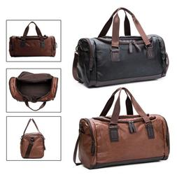Large Men Leather Duffel Bag Gym Shoulder Bag Travel Weekend