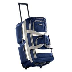 """Olympia Luggage 29"""" 8 Pocket Rolling Duffel Bag, Navy, One S"""