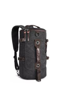 LUXUR 201 Retro Duffle Cylinder Bag. Canvas Travel Backpack