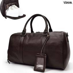 MAHEU Men Genuine <font><b>Leather</b></font> Travel Tote <f