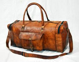 Men Genuine Leather Outdoor Gym Duffel Bag Travel Weekender