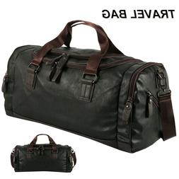 Men Leather Duffle Weekend Bag Gym Travel Bag Luggage Leathe