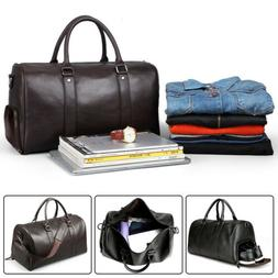 Men Leather Travel Gym Bag Weekend Overnight Bag Duffle Shou