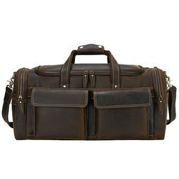 Men Real Leather Luggage Travel Bag Duffle Gym Bags Carry On