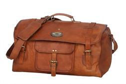 """Men's 30"""" Waxed Retro Leather Duffel Travel Gym Weekend Over"""