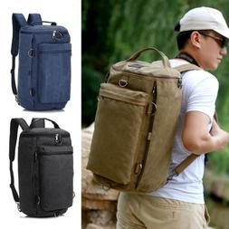 Men's Canvas Backpack Shoulder Bag Camping Sports Travel Duf