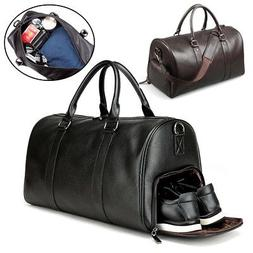 Men's Leather Gym Duffel Shoulder Bag Travel Overnight Lugga