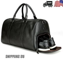 Mens Black Gym Duffel Shoulder Bag Travel Overnight Luggage