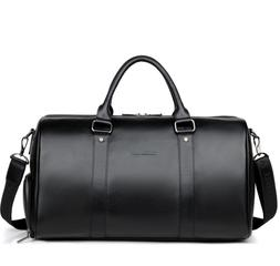 Mens Soft Leather Gym Duffel Shoulder Bag Travel Overnight L