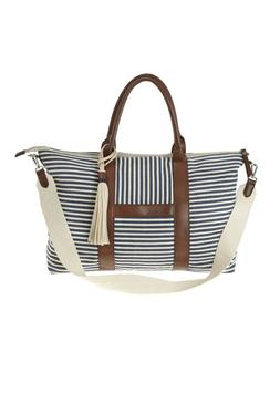 New canvas tote duffle bag in navy and cream stripe, top zip