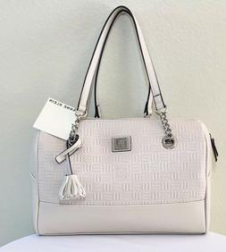 new duffel handbag embossed chain ivory wht