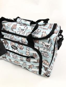 "NWT Olympia Harmony 21"" Duffel Bag Kitty Cat Animal Print Pu"