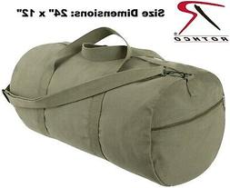 Olive Drab Green canvas Sports Gym Duffle Carry Shoulder Bag