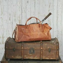 Old Real Brown Leather Duffle Bag Sports Gym Bag weekend Tra