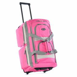 Olympia USA 26 Inch 8 Pocket Rolling Duffel Bag-Hot Pink col