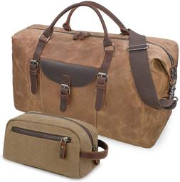 Oversized Travel Duffel Bag Waterproof Canvas Weekender Leat