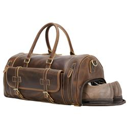 Real Leather Luggage Travel Bag Suitcase Overnight Shoes Duf
