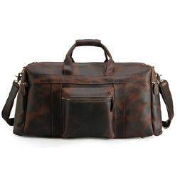 Retro Men's Real Leather Travel Luggage Duffle Gym Overnight