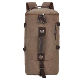 Retro Mens Duffel Cylinder Bag Canvas Travel Backpack Hiking