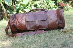 Round genuine Leather vintage duffle travel gym weekend over