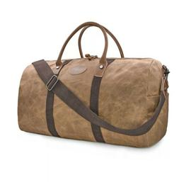 Travel Duffel Bag Waterproof Canvas Overnight Bag Leather We