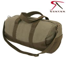 two tone canvas duffle bag with brown