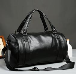 Men's Large Roll Handbag Travel Duffle Gym Leather Luggage B