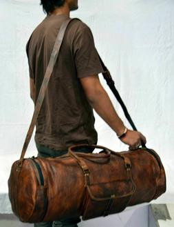 Vintage Mens New Bag Leather Duffel Travel Luggage Gym Genui