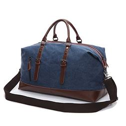 Weekender Bag Genuine Leather Canvas Satchel Duffel Tote Bag