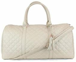 Women's Quilted Leather Weekender Travel Duffel Bag With Ros