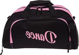 Silver Lilly Womens Black/Pink Nylon Dance Duffel Gym Bag w/